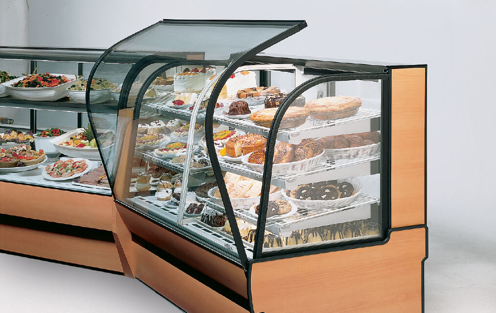 CURVED GLASS BAKERY 2 PIECE LINE UP WITH FRONT GLASS OPEN