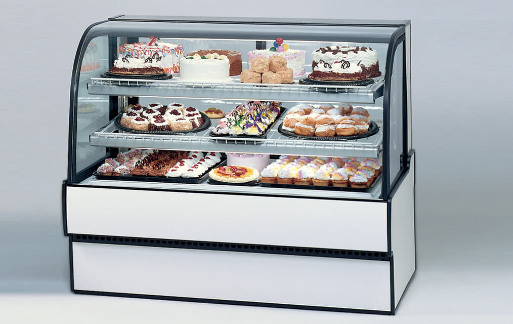 CURVED GLASS REFRIGERATED BAKERY CASE WHITE LAMINATE CGR5948