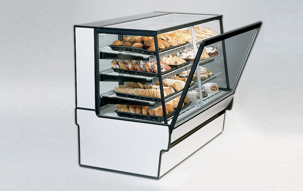HIGH VOLUME DUAL ZONE BAKERY DELI CASE SIDE VIEW WITH TILT OUT FRONT FRONT GLASS