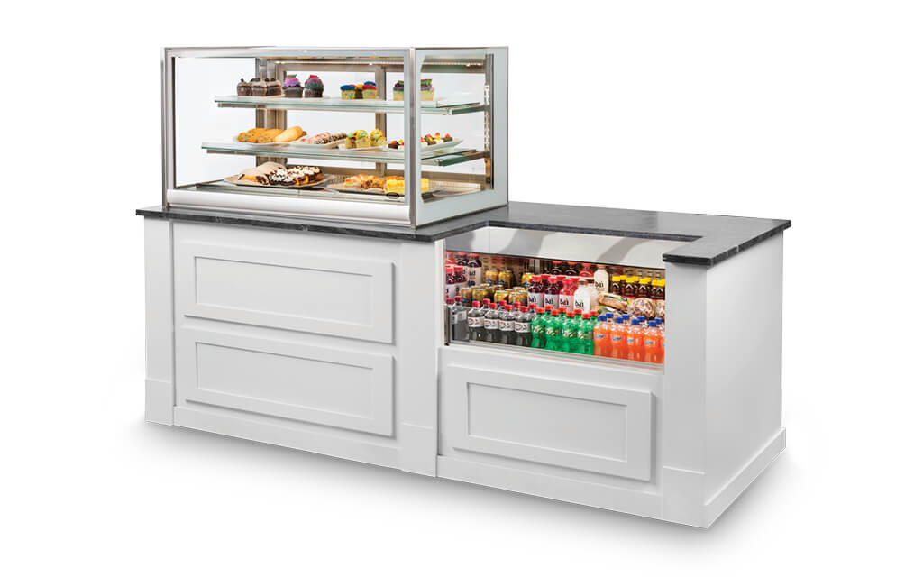 ITD4826 DRY BAKERY AND SSRVS3633 REFRIGERATED COUNTER CASE INSTALL WHITE CABINET
