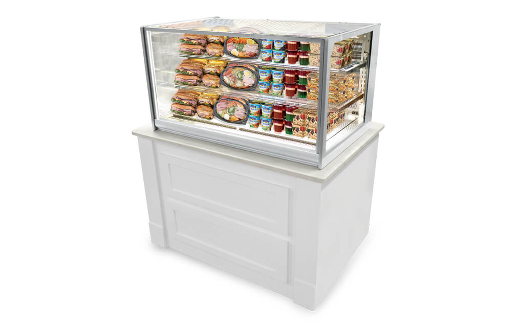 ITR4826 ITALIAN GLASS REFRIGERATED COUNTER TOP MERCHANDISER-WHITE CABINET INSTALL