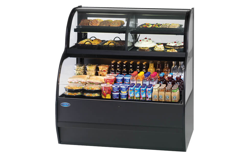 CONVERTIBLE SERVICE OVER REFRIGERATED SELF-SERVE SPECIALTY MERCHANDISER SSRC5952 BLACK