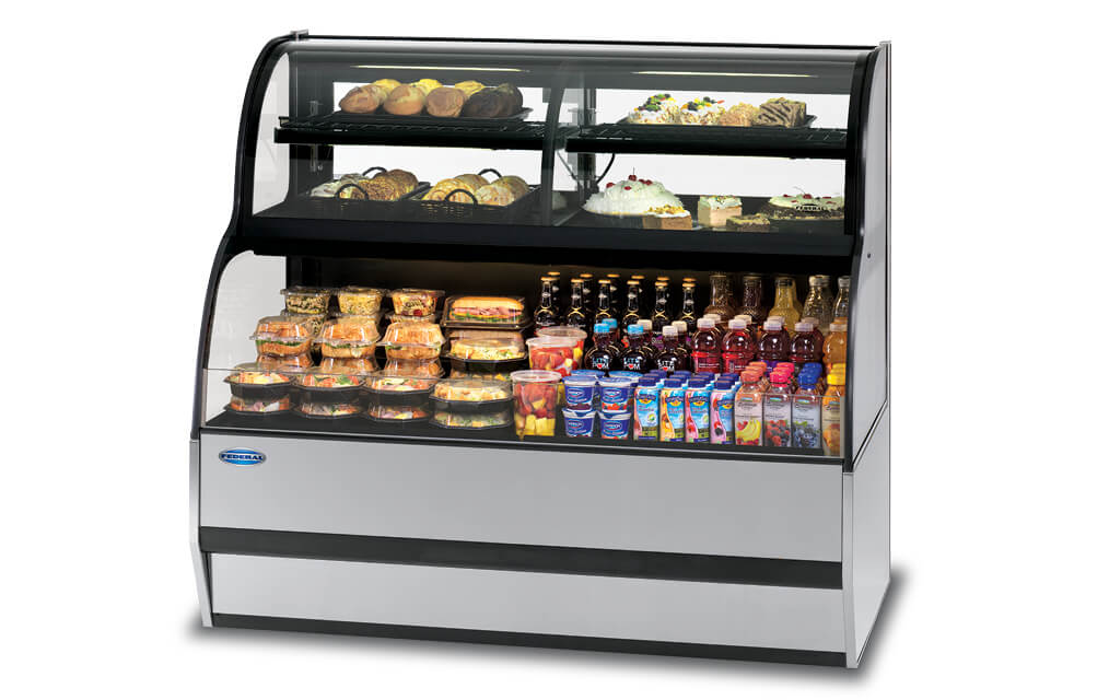 CONVERTIBLE SERVICE OVER REFRIGERATED SELF-SERVE SPECIALTY MERCHANDISER SSRC5952 GREY