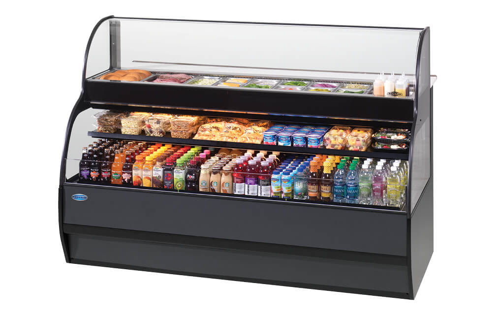 SANDWICH OR SALAD PREP CASE OVER REFRIGERATED SELF-SERVE SPECIALTY SSRSP5952 MERCHANDISER BLACK