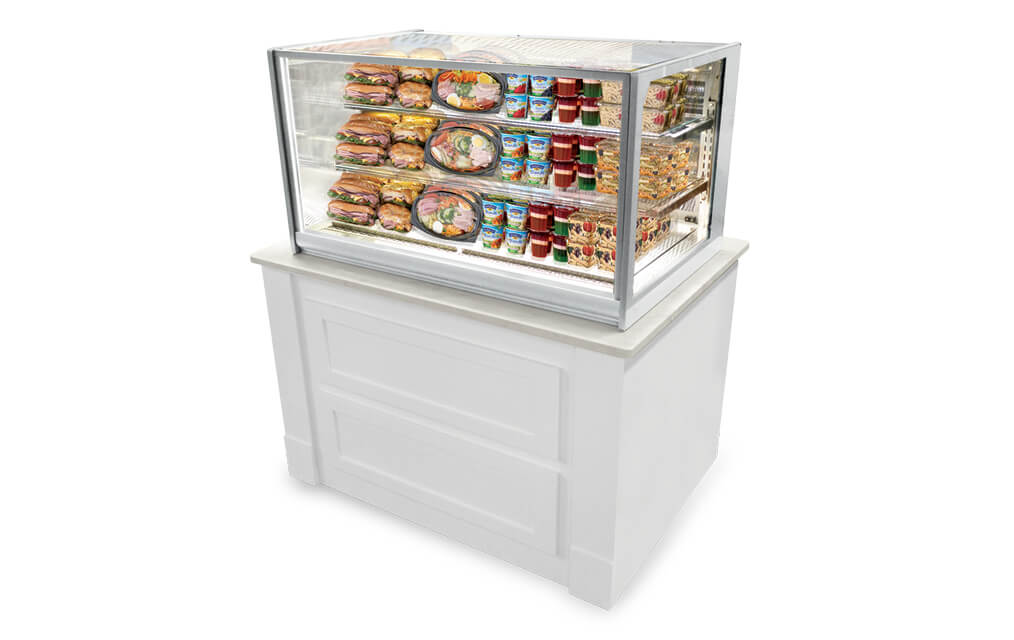 ITALIAN GLASS ITR4826 REFRIGERATED DROP-IN MERCHANDISER IN WHITE CABINET