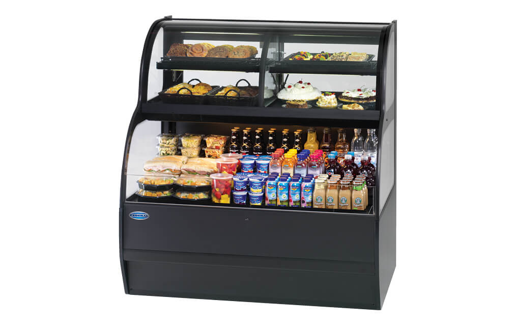 CONVERTIBLE SERVICE OVER REFRIGERATED SELF-SERVE, SSRC-5052 MERCHANIDISER BLACK