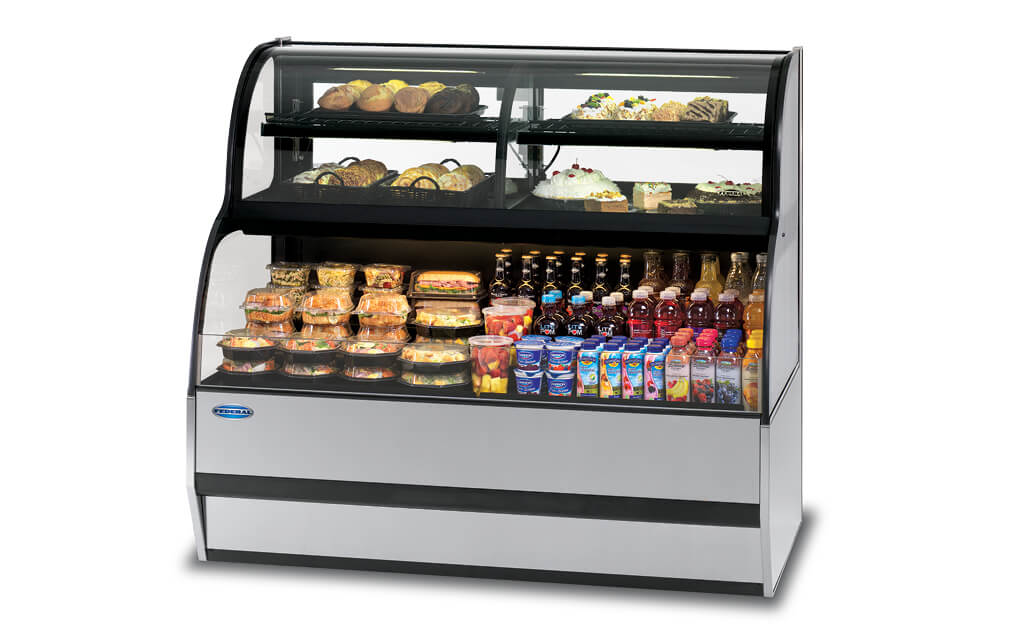 CONVERTIBLE SERVICE OVER REFRIGERATED SELF-SERVE, SSRC-5052 MERCHANIDISER GRAY